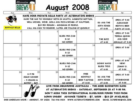 August 2008 Calendar Buffalo Ny Best Of Wny Band And Entertainment Event