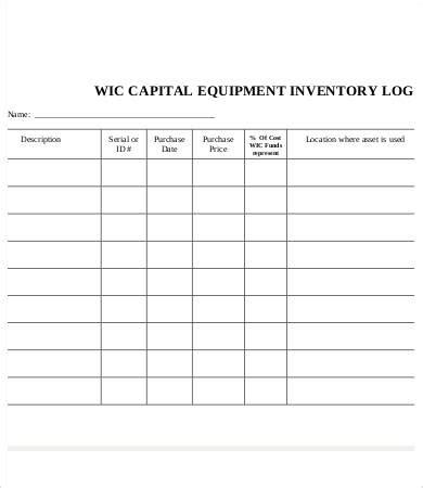 equipment log book template equipment log template 9 free word excel pdf format