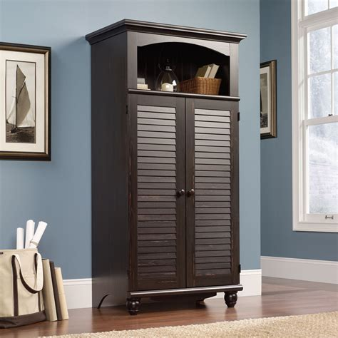 Computer Armoire Sauder 138070 Harbor View Computer Armoire The Furniture Co