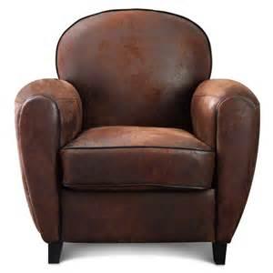 fauteuil club microfibre marron vintage