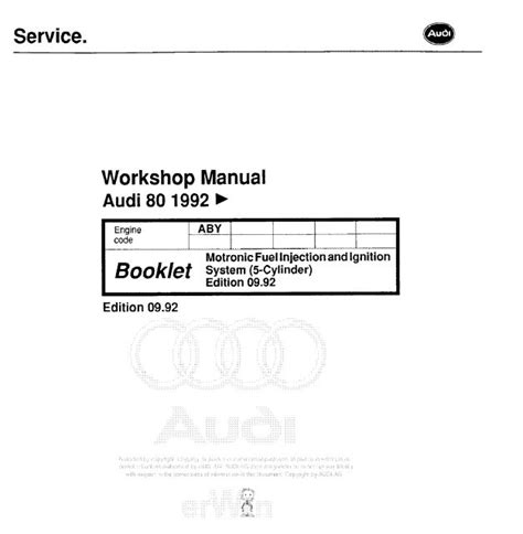 car service manuals pdf 1992 audi 80 instrument cluster audi 80 1992 motronic fuel injection and ignition system 5 cylinder workshop manual edition