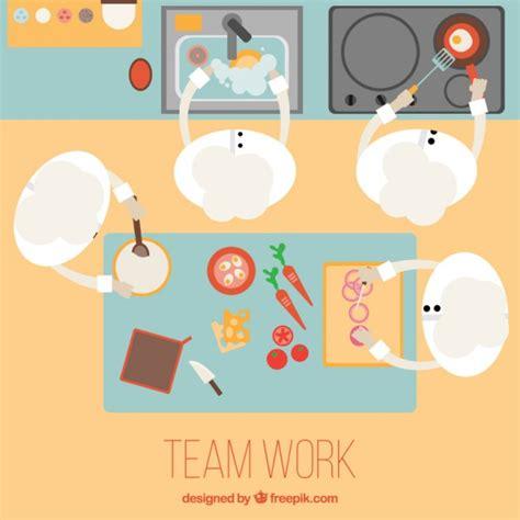 werken in een keuken team werken in een keuken vector gratis download