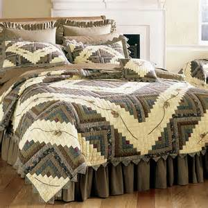 Lodge Style Curtains Barn Raising Pine Cone Quilt