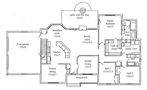 ranch floor plan house plans new construction home floor plan