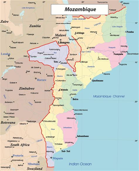 africa map mozambique detailed administrative map of mozambique mozambique