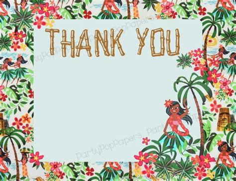 free printable luau thank you cards printable hula girl luau thank you card thank you cards