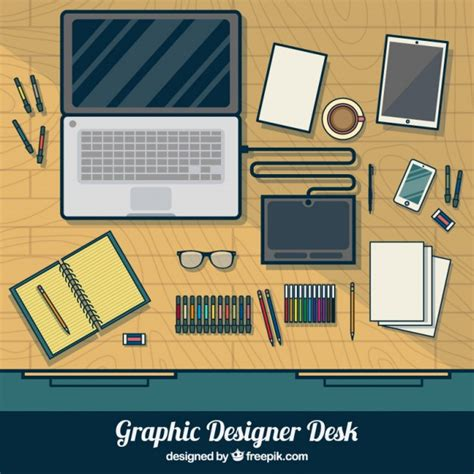 graphic designer desk in top view vector free