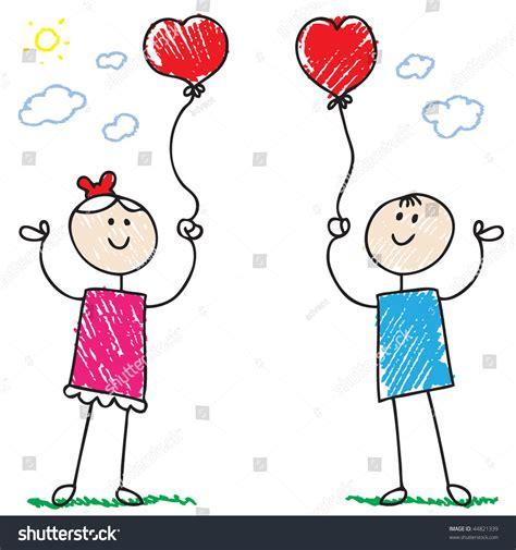 balloon doodle vector free doodle children holding balloons stock vector 44821339