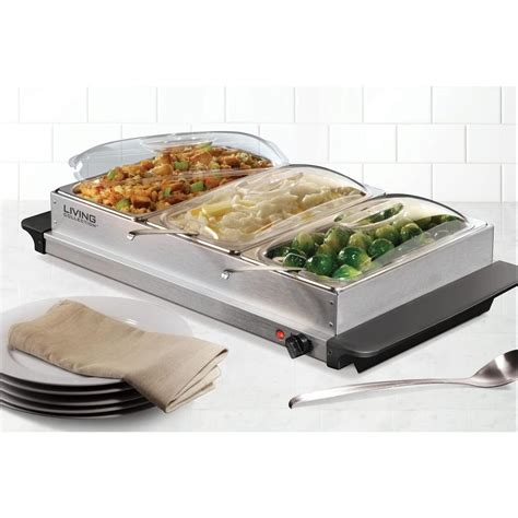 nostalgia 3 station buffet server and warming tray bcd 992