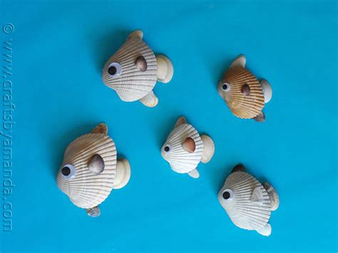 How To Make A Fish Out Of A Paper Plate - how to make seashell fish crafts by amanda