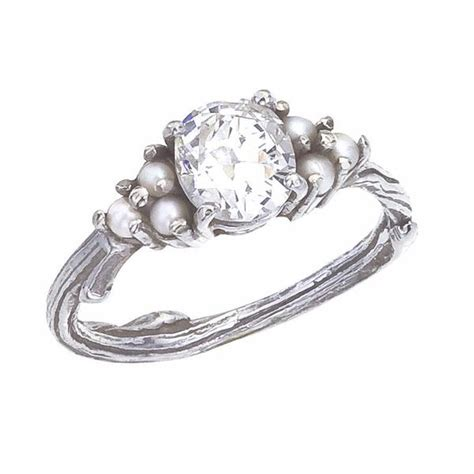 custom antique and pearl engagement ring with