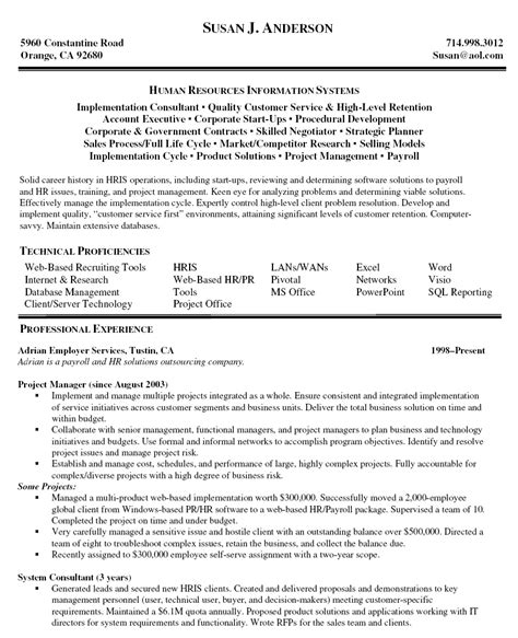 project manager resume format resume exles for project managers