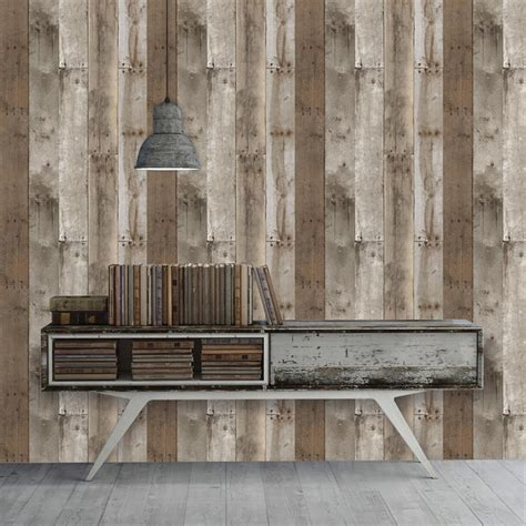 wood panel removable wallpaper wallsneedlove reclaimed wood industrial loft weathered removable