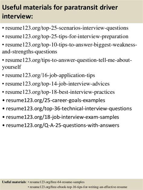 Paratransit Driver Sle Resume by Top 8 Paratransit Driver Resume Sles