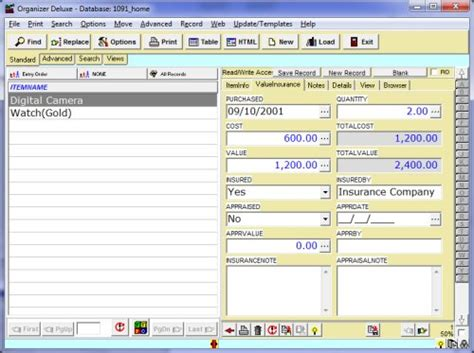 inventory management database template free home inventory database template for organizer deluxe