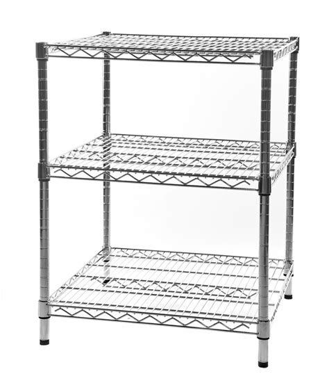 buy square chrome display units with wire shelves