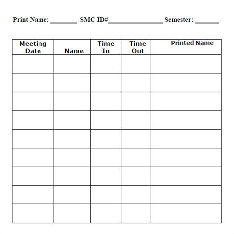 7 Sle Blank Timesheets Sle Templates Time Clock Correction Form Template