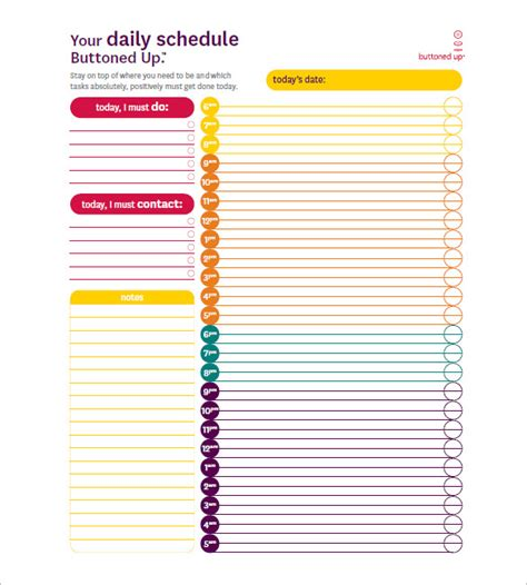 printable day planner hourly day schedule template 8 free sle exle format