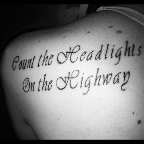 robin tattoo with lyrics from elton john s candle in the quot count the headlights on the highway quot elton john lyrics