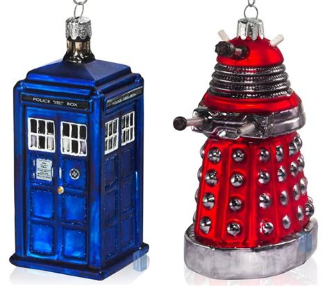 doctor who tardis and dalek christmas ornaments pic