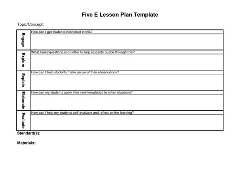 Blank Lesson Plan Template Pdf Popular Sles Templates 5 E Lesson Plan Template For Reading