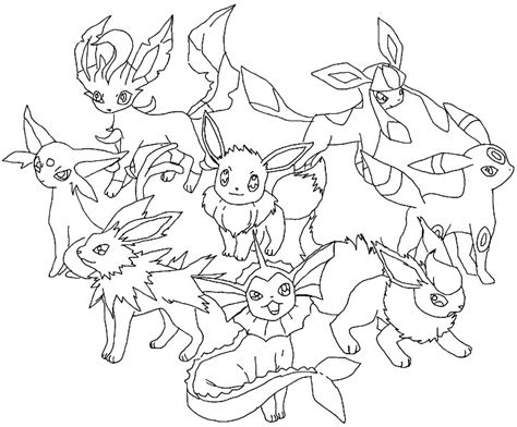 Pages Eevee Evolutions eevee evolutions coloring pages piirrokset