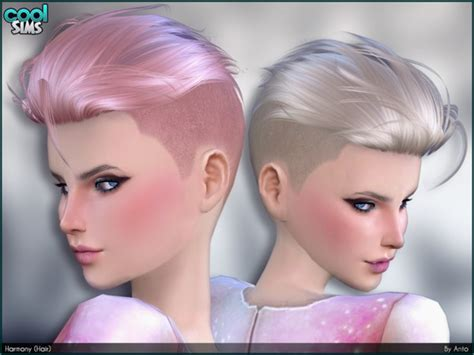 sims 4 hairstyle shaved side anto harmony hair