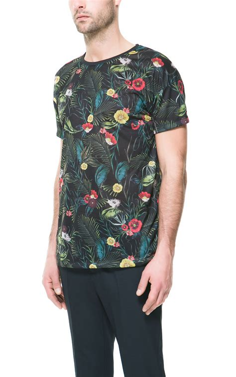 zara floral print t shirt in floral for black lyst