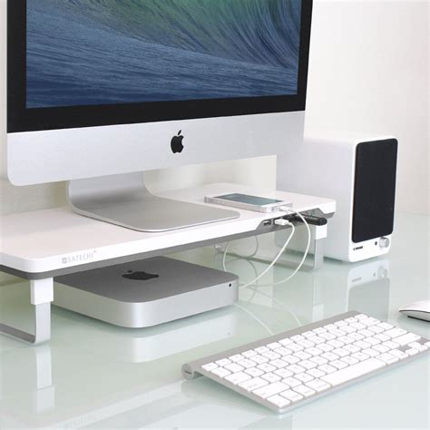 manhattan open computer desk with adjustable shelf white monitor laptop computer stand riser tray pad desk