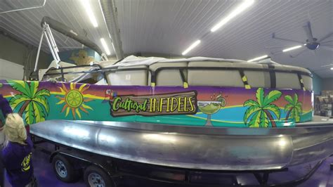 boat wraps pontoon cultural infidels pontoon boat wrap youtube