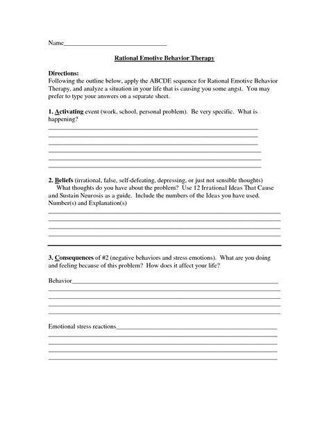 Rebt Worksheets by Rational Emotive Therapy Worksheet Cockpito