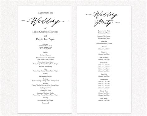 Diy Wedding Programs 183 Wedding Templates And Printables Wedding Reception Program Template 2