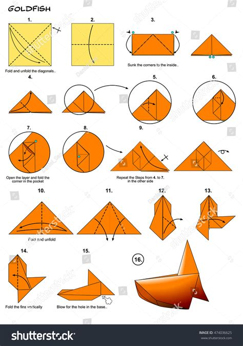 origami water animals origami sea animal fish goldfish diagram stock