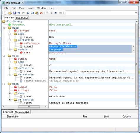 notepad format xml html creating xml documents in tree view