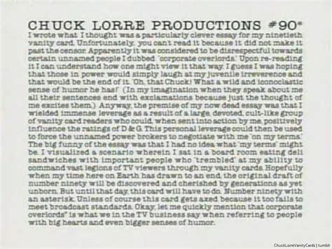 Chuck Lorre Big Vanity Cards by Chuck Lorre Productions