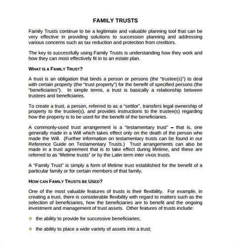 family trust template sle living trust form templates 8 sles exles