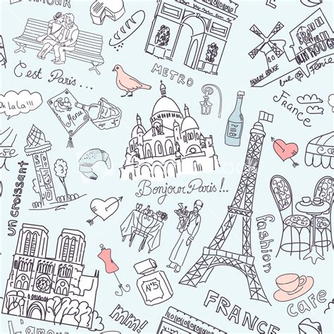 free vector doodle background sightseeing in seamless doodles background stock image