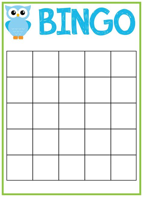 free printable bingo cards template free print bingo cards free printable owl baby shower