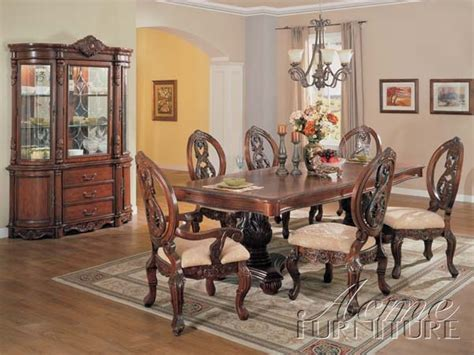 versailles dining set in cherry oak finish 7 piece set 96 quot l versailles cherry finish 7 piece pedestal dining table set