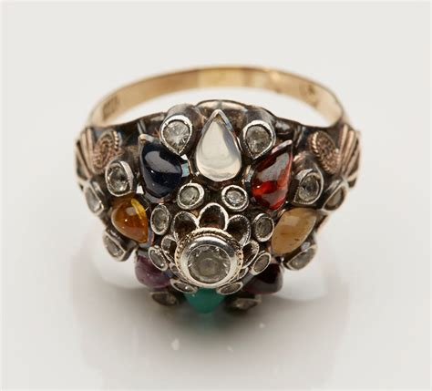 vintage thai princess ring set with semi precious stones