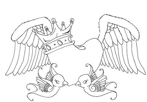 heart crown coloring page heart swallows wings and crown by maouy on deviantart