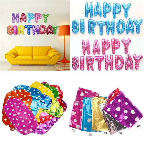 Balon Foil Huruf Set Happy Birthday 13pcs set happy birthday letter shaped balloons multi color foil balloons 1st birthday