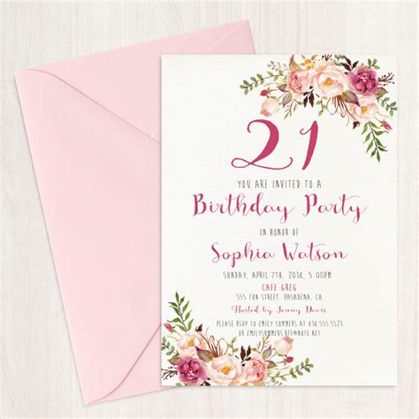 21st birthday card template exles of birthday invitations 33 free psd vector ai
