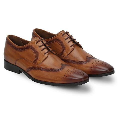 formal shoes mens wooden look burnished leather brogue formal shoes
