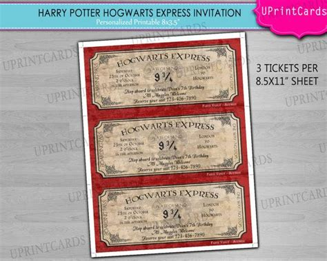 printable personalized tickets diy printable hogwarts express harry potter ticket