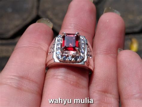 Permata Cincin Garnet batu cincin permata garnet ceylon asli kode 718