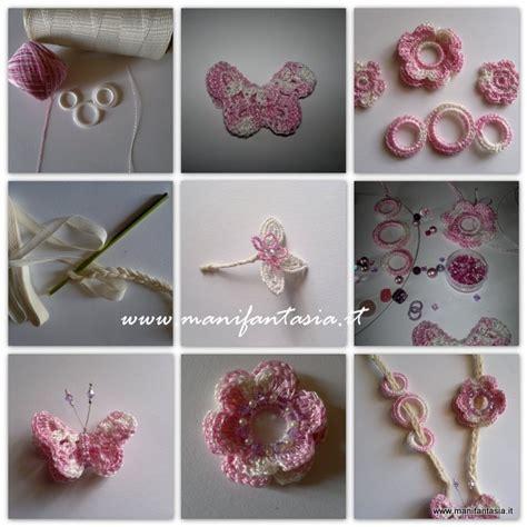come fare i fiori con l uncinetto collana e orecchini uncinetto farfalle e fiori manifantasia