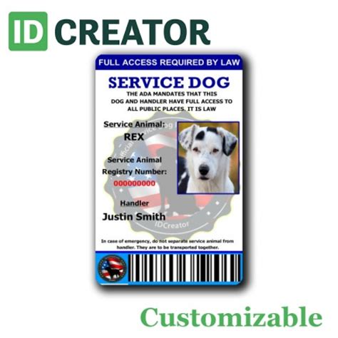 service animal id card template free custom id card templates by idcreator make id badges