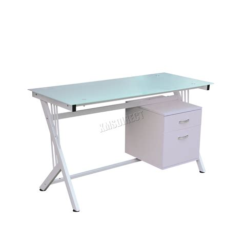 glass top office desk with drawers foxhunter computer desk pc table with glass top 2 drawers