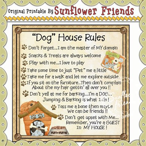 dog house rules lift up your prayers tea bag insp307 sunflower friends 0 33 sunflower